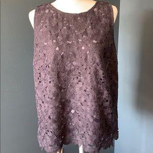 LOFT Embroidered Floral Lace Tank Blouse Sz L